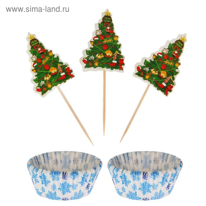 """Украшение для кексов """"Новогодний"""" в наборе: 24 формочки, 24 пики"""