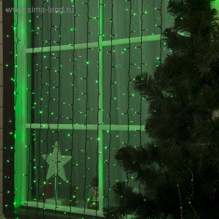 """Гирлянда """"Занавес"""" улич. УМС, Ш:2 м, В:6 м, Н.Т. 3W LED-1440-220V, БЕЗ контр. ЗЕЛЕНЫЙ"""