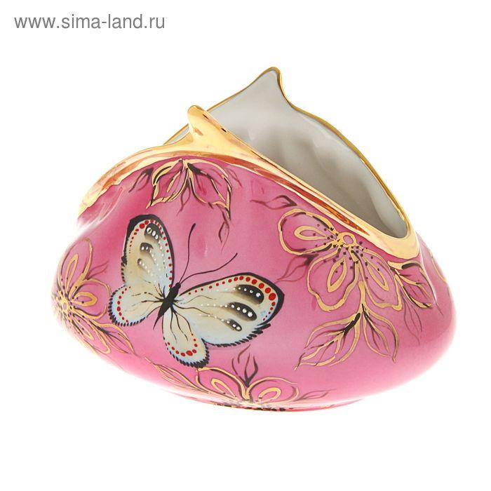 """Сувенир фарфор """"Кошелек с бабочками"""" розовый большой"""