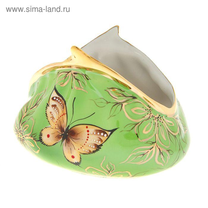 """Сувенир фарфор """"Кошелек с бабочками"""" зеленый большой"""