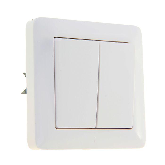 """Выключатель """"Хит"""" SchE VS56-234-B, 6 А, 2 клавиши, скрытый, цвет белый"""