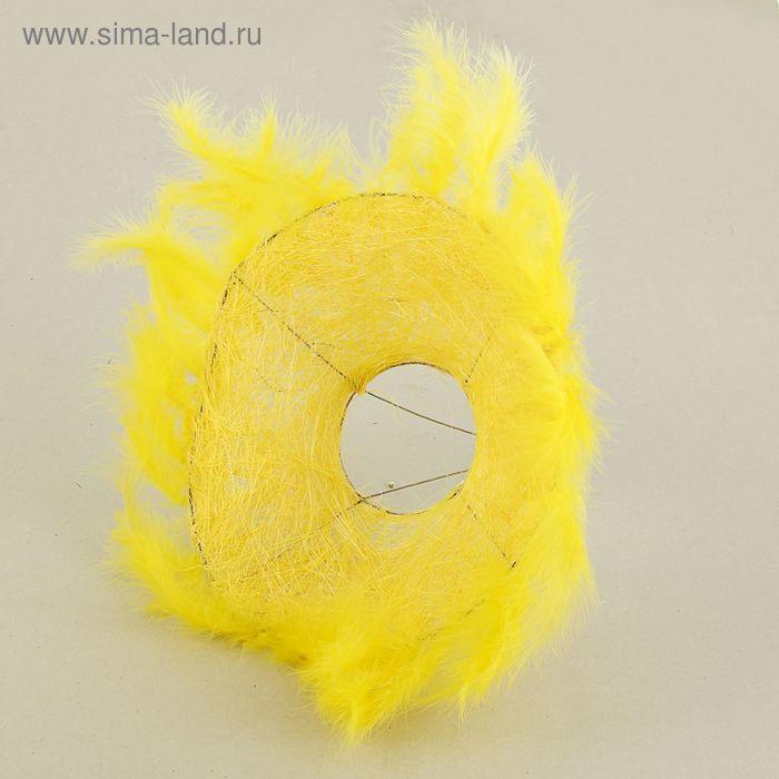 Каркас для букета, 25 см, сизаль с перьями, желтый