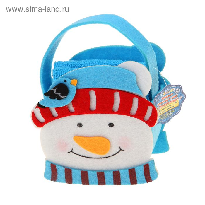 "Набор полотенец ""Collorista"" Снеговик, 30х30 см - 2 шт, хлопок 300гр/м2"