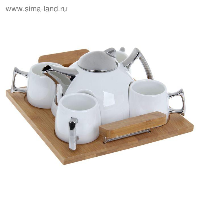 """Чайный набор """"Георгина"""" кружки 4 шт, чайник 600 мл серебро, на подставке"""