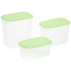 Набор контейнеров пищевых Venecia, 3 шт: 500 мл; 1 л; 1,5 л, цвет зеленый