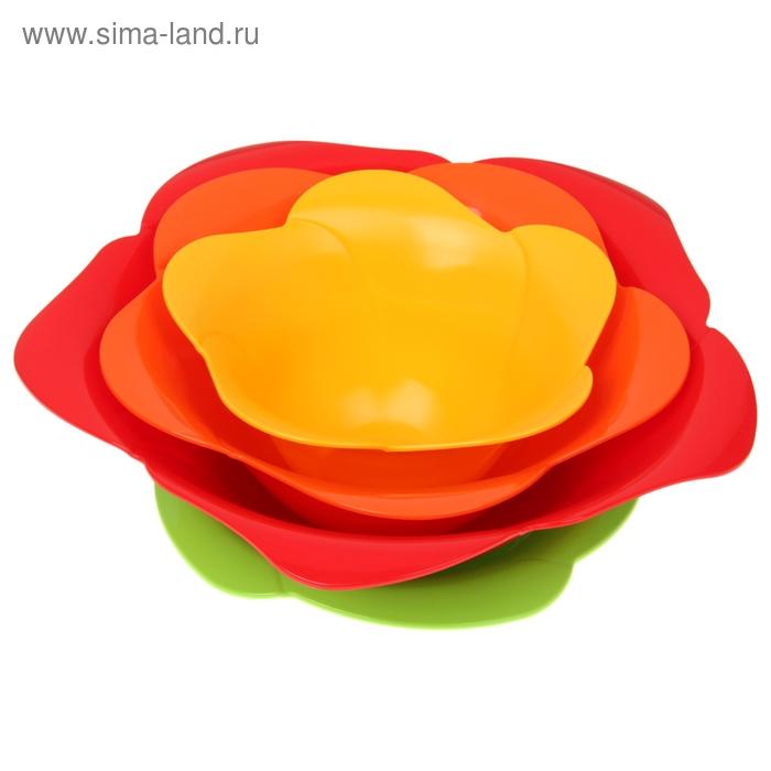Набор салатников Rose, 4 шт: салатники 600 мл, 1 л, 1,6 л; тарелка d=20,3 см