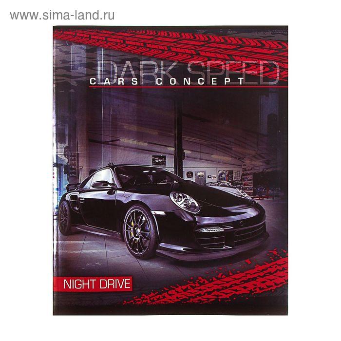 Тетрадь 48 листов клетка Night drive, картонная обложка, металлик, МИКС