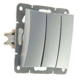 """Выключатель """"Дуэт"""" SchE WDE000331, 10 А, 3 клавиши, скрытый, цвет серебро"""