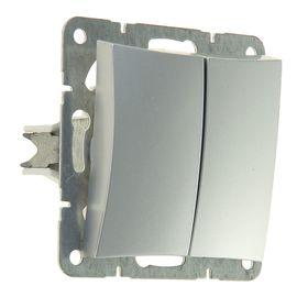 """Выключатель """"Дуэт"""" SchE WDE000351, 10 А, 2 клавиши, скрытый, цвет серебро"""