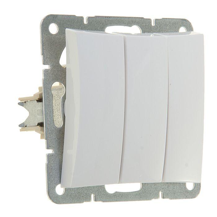 """Выключатель """"Дуэт"""" SchE WDE000131, 10 А, 3 клавиши, скрытый, цвет белый"""