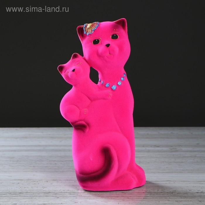 """Копилка """"Кошка Сьюзи с котёнком"""" малая, флок, розовая"""