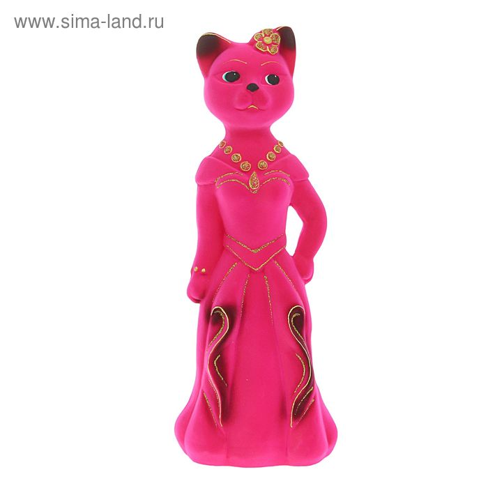 "Копилка ""Миледи кошка"" флок, розовая"