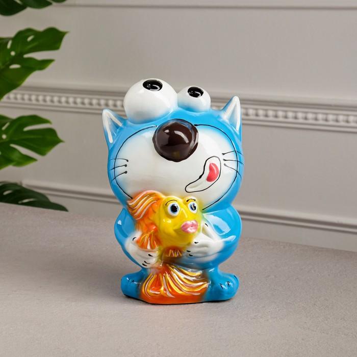 """Копилка """"Кот с рыбкой"""" голубая, глянец"""
