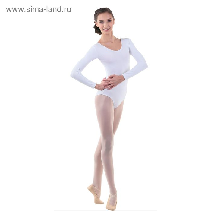 Купальник гимнастический, с длинным рукавом, размер 32, цвет белый
