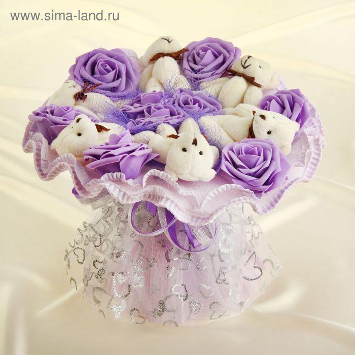 """Букет из игрушек """"Школьная любовь"""" фиолетовый"""