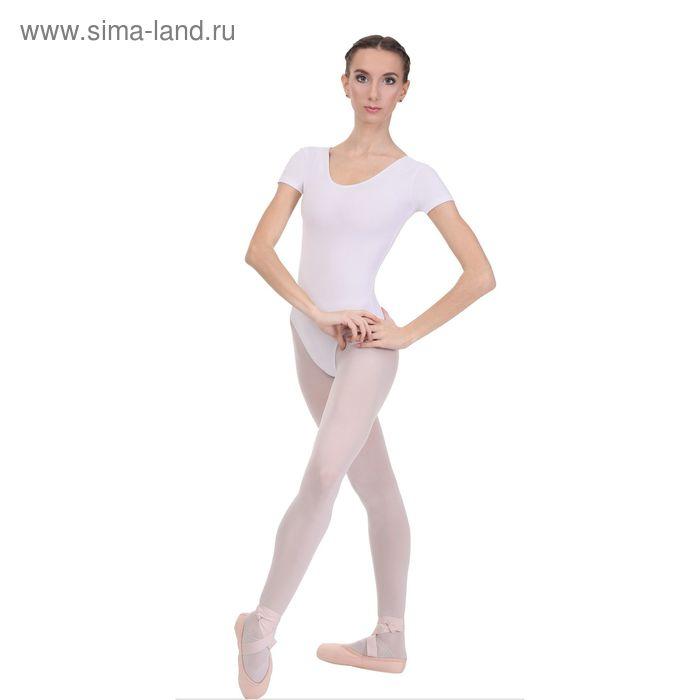 Купальник гимнастический, с коротким рукавом, размер 38, цвет белый