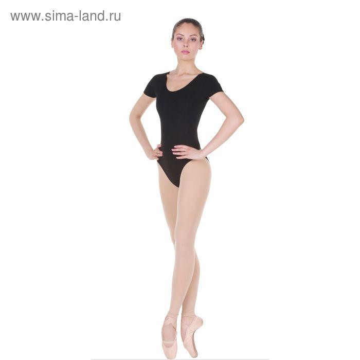 Купальник гимнастический, с коротким рукавом, размер 40, цвет чёрный