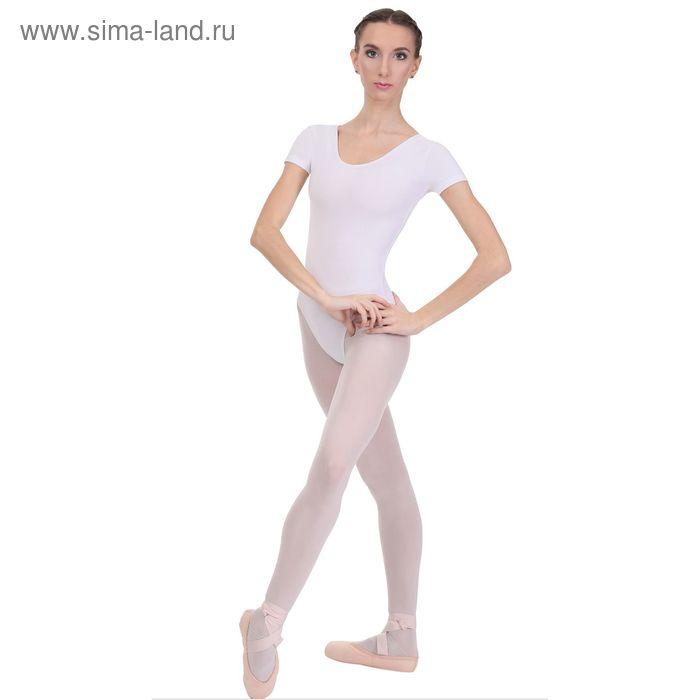 Купальник гимнастический, с коротким рукавом, размер 40, цвет белый