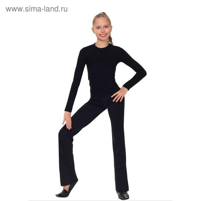 Футболка гимнастическая, с длинным рукавом, размер 46, цвет чёрный