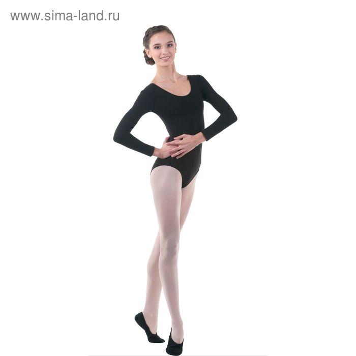 Купальник гимнастический, с длинным рукавом, размер 44, цвет чёрный