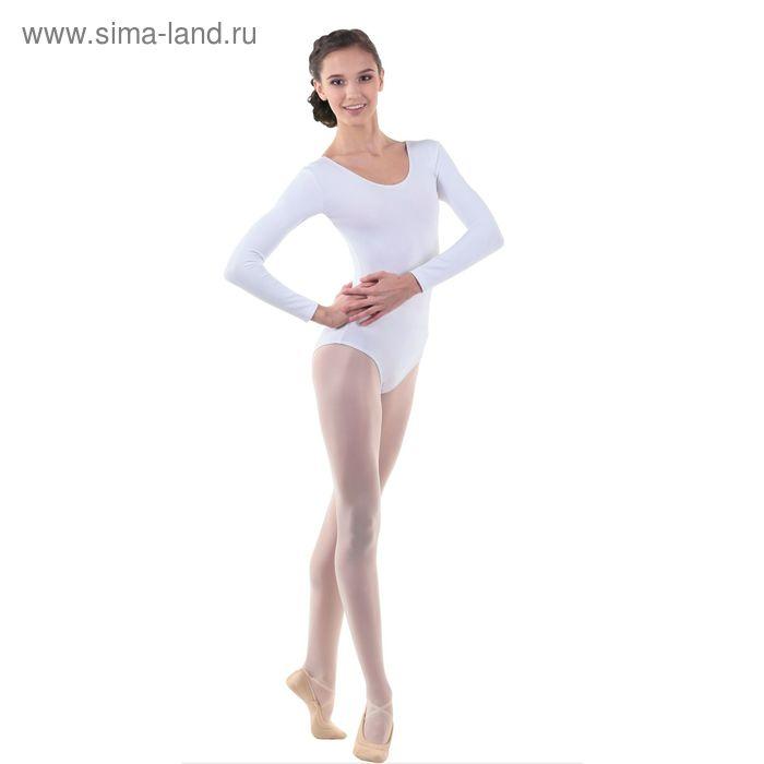 Купальник гимнастический, с длинным рукавом, размер 44, цвет белый
