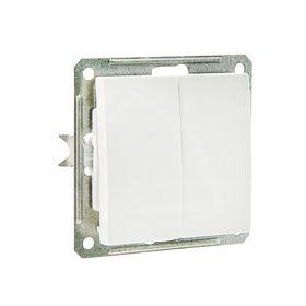 Выключатель двухклавишный скрытый в рамку, белый