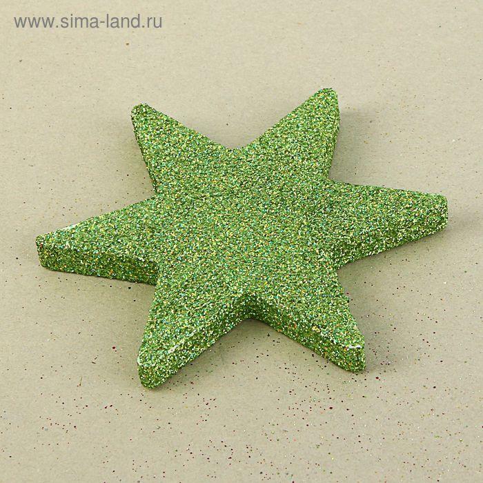 """Декор из пенопласта """"Звезда 6 лучей"""" зеленый блеск, 10 см"""