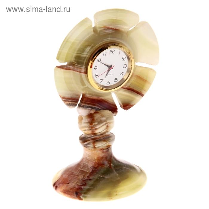 Часы Цветочек Оникс 13*7,5*6,5 см