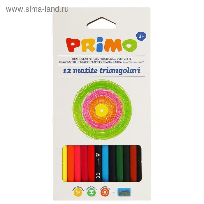 Карандаши трехгранные 12 цветов, с точилкой