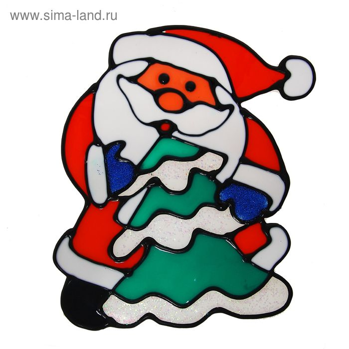 """Наклейка на стекло """"Дед Мороз с ёлкой"""" (белая кайма)"""