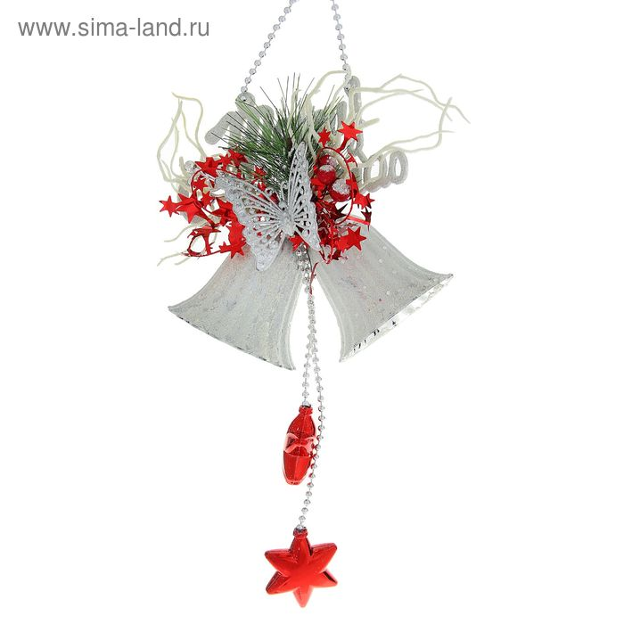 """Украшение новогоднее """"Колокольчик с бабочкой бело-красный"""""""