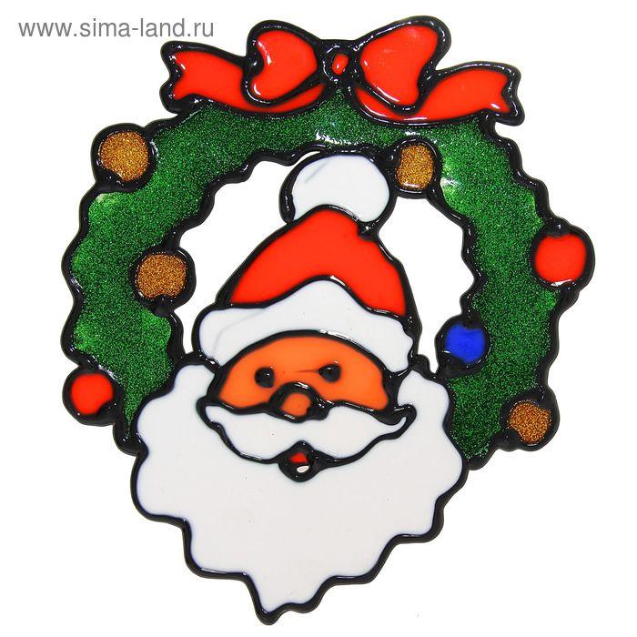 "Наклейка на стекло ""Дед Мороз с рождественским венком"""