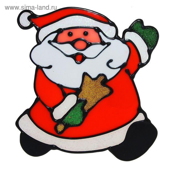 """Наклейка на стекло """"Дед Мороз с колокольчиком"""""""