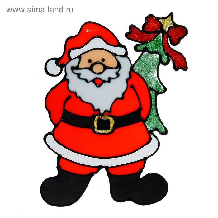 "Наклейка на стекло ""Дед Мороз прячет ёлку"""
