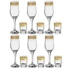 """Набор посуды """"Цветочный бордюр"""", 12 предметов: 6 бокалов для шампанского 205 мл, 6 стопок 50 мл, цвет золотой"""