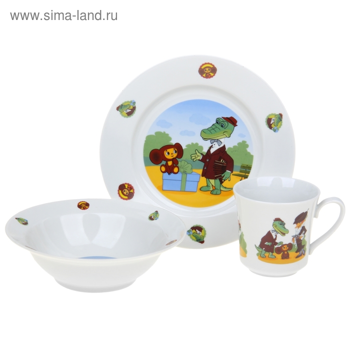 "Набор посуды детский ""Чебурашка и Крокодил Гена"", 3 предмета: кружка 200 мл, салатник 300 мл, тарелка d=20 см"