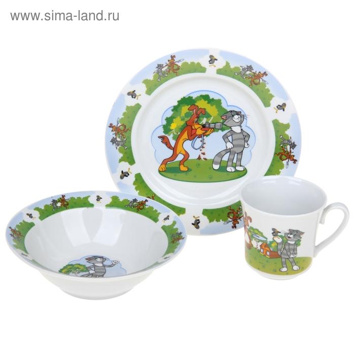 """Набор посуды детский """"Трое из Простоквашино"""", 3 предмета: кружка 200 мл, салатник 300 мл, тарелка d=20 см"""