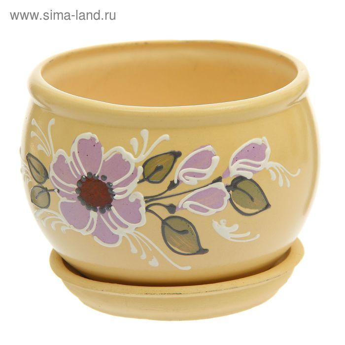 """Кашпо """"Ромашка"""" цветы, микс 1 л"""