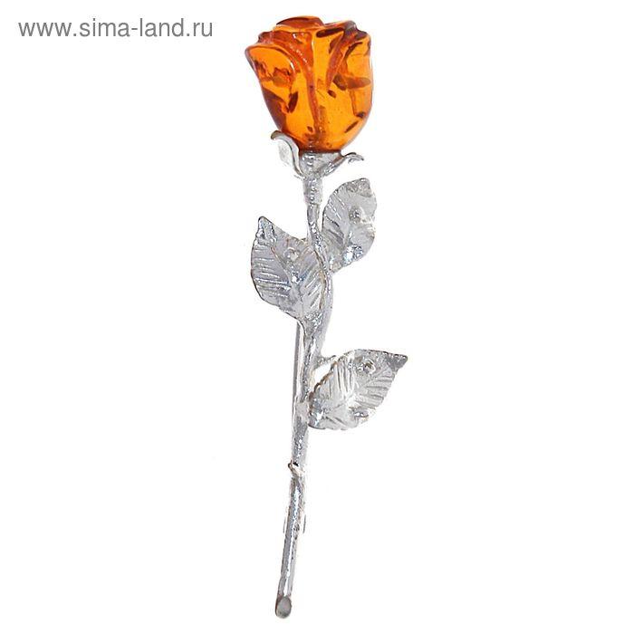 """Брошь """"Янтарь"""" цветок, роза"""