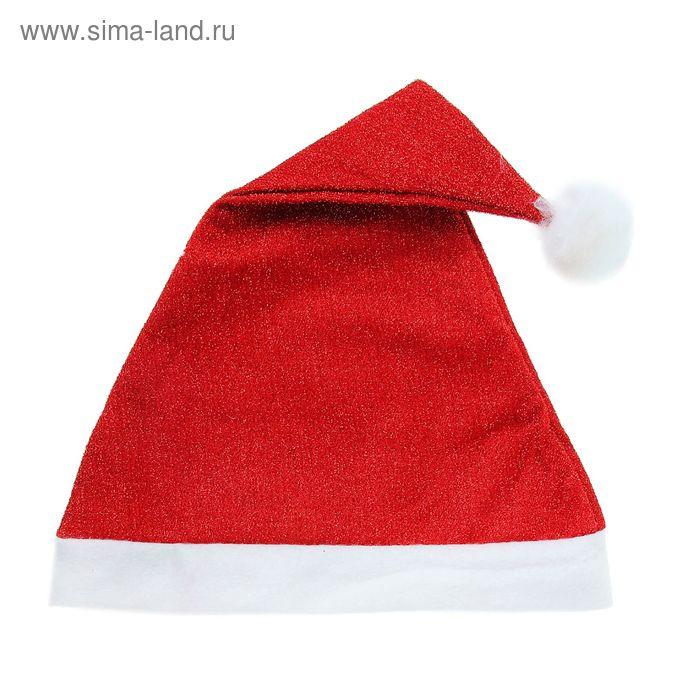 Новогодний колпак красный с люрексом