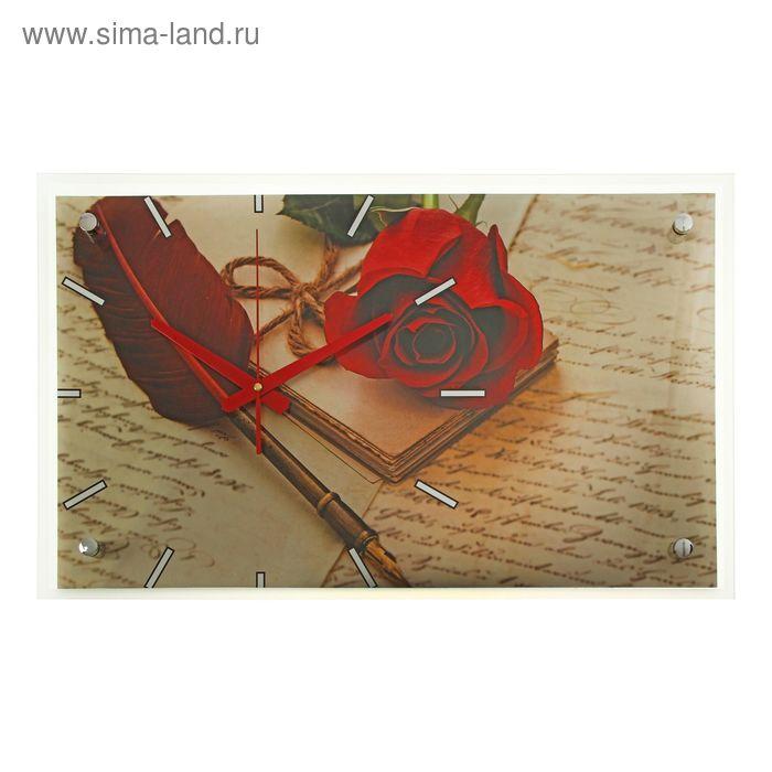 """Часы настенные прямоугольные """"Роза и перо"""", 36х60 см"""