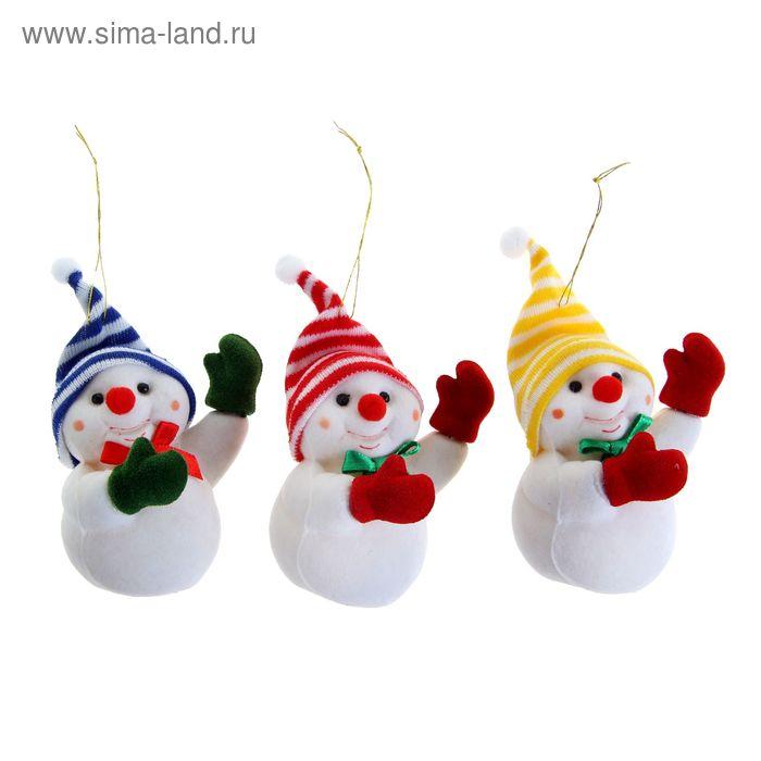 """Ёлочная игрушка """"Снеговик в варежках"""" микс"""