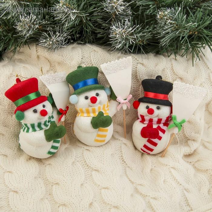 """Ёлочная игрушка """"Снеговик в шляпе"""" микс"""