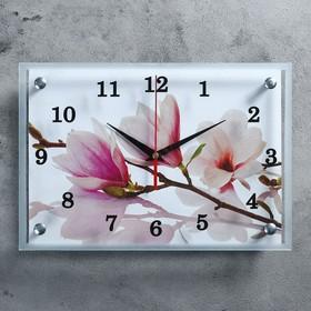 """Часы настенные прямоугольные """"Бело-сиреневые цветы"""", 25х35 см микс"""