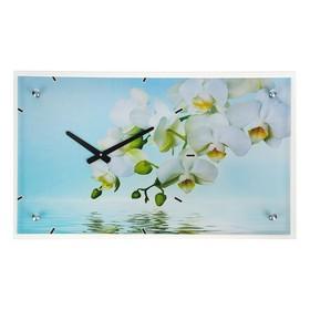 "Часы настенные прямоугольные ""Белые цветы у воды"", 35х60 см микс"