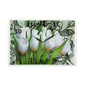 "Часы настенные прямоугольные ""Белые тюльпаны"", 25х35 см микс"