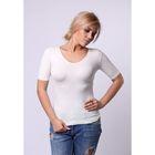 Бесшовная футболка женская с V-образным вырезом, короткий рукав, Collorista (шампань,S/M)