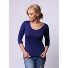 Бесшовная футболка женская с U-образным вырезом, рукав 3/4, Collorista (океан,L/XL)