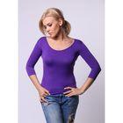 Бесшовная футболка женская с U-образным вырезом, рукав 3/4, Collorista (лаванда,L/XL)