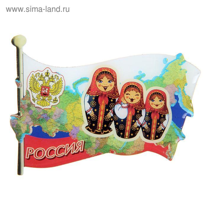 """Магнит со смоляной заливкой в форме флага """"Россия"""""""